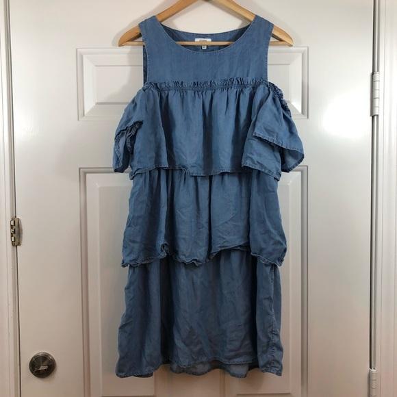 crown & ivy Dresses & Skirts - crown & ivy soft Jean Off The Shoulder Dress